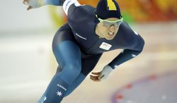 Australia's Daniel Greig skates during a test race at the Adler Arena Skating Center during the 2014 Winter Olympics in Sochi, Russia, Wednesday, Feb. 5, 2014. (AP Photo/Patrick Semansky)