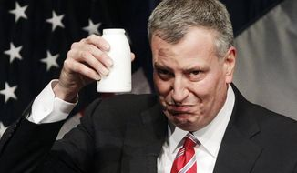 ** FILE ** New York Mayor Bill de Blasio holds up a bottle as he takes a drink during his State of the City address at LaGuardia Community College in the Queens borough of New York, Monday, Feb. 10, 2014. De Blasio, delivering one of the most important speeches of his young administration, outlined his vision for New York and offered a glimpse into his signature goal of fighting the city's widening income inequality gap. (AP Photo/Mark Lennihan)