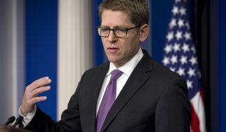 White House press secretary Jay Carney speaks during his daily news briefing at the White House in Washington, Monday, Feb. 10, 2014. Carney answered questions on topics including recent developments in Congress. (AP Photo/Jacquelyn Martin)