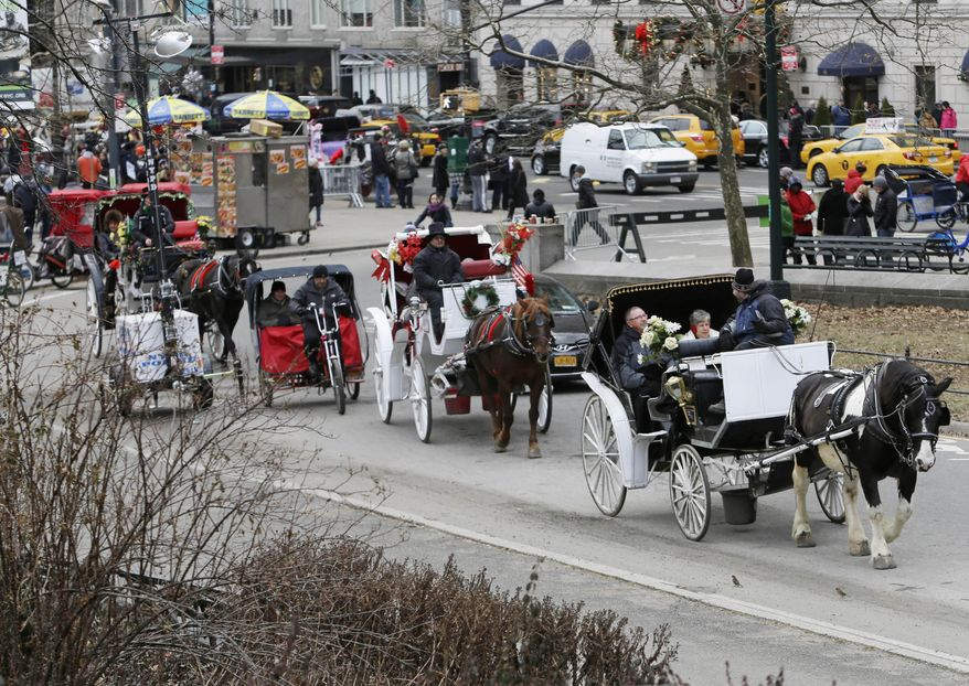 FILE- In this Dec. 31, 2013 file photo, passengers enjoy a horse-drawn carriage ride near Central Park on New Year's Eve day in New York. New York City Mayor Bill de Blasio seeks to end horse-drawn-carriage rides in New York City, but carriage drivers say it will eliminate a rare outlet for surplus horses pouring out of the farming and racing industries and send horses to the slaughterhouse. (AP Photo/Frank Franklin II, File)