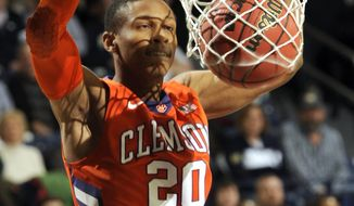 Clemson guard Jordan Roper dunks in first half of an NCAA college basketball game against Notre Dame, Tuesday, Feb. 11, 2014, in South Bend, Ind. (AP Photo/Joe Raymond)