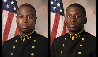 FILE - July, 24, 2013 file photos provided by the U.S. Navy Football team, shows Midshipman Eric Graham, left, and Midshipman Josh Tate. Graham is scheduled to speak publicly for the first time in a case in which a teammate is accused of sexual assault. (AP Photo/U.S. Navy Football team, File)