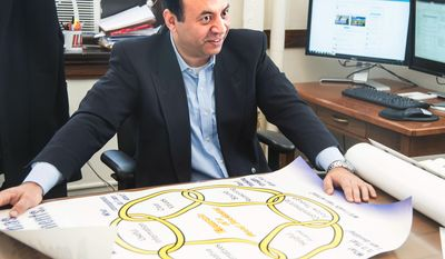 In this Feb. 7, 2014 photo. Ali Abbas, an engineering professor at the University of Illinois, displays a model of the six elements of decision quality that his website Ahoona.com uses to make decisions at his office in Urbana, Ill. Abbas says he created the new website to help people with decisions big and small. Access is free. (AP Photo/The News-Gazette, John Dixon) MANDATORY CREDIT