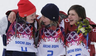 Canada's Dara Howell, center, celebrates on the podium with silver medalist Devin Logan of the United States, left, and compatriot Kim Lamarre, right,  after Howell took the gold medal in the women's freestyle skiing slopestyle final at the Rosa Khutor Extreme Park at the 2014 Winter Olympics, Tuesday, Feb. 11, 2014, in Krasnaya Polyana, Russia.  (AP Photo/Andy Wong)