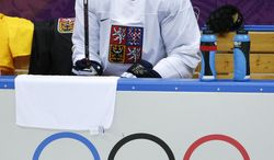 Czech Republic forward Petr Nedved takes a break during a training session at the Bolshoy Ice Dome at the the 2014 Winter Olympics, Tuesday, Feb. 11, 2014, in Sochi, Russia. (AP Photo/Julio Cortez)