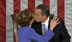 **FILE** House Minority Leader Nancy Pelosi of Calif. gets a kiss from House Speaker John Boehner of Ohio after he was re-elected as House Speaker as the 113th Congress began, Thursday, Jan. 3, 2013, on Capitol Hill in Washington. (AP Photo/Susan Walsh)