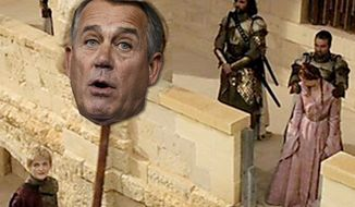 PHOTO ILLUSTRATION Scene from Game of Thrones and John Boehner.