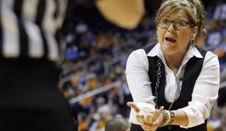 Vanderbilt head coach Melanie Balcomb pleads to an official in the first half of an NCAA college basketball game against Tennessee, Monday, Feb. 10, 2014, in Knoxville, Tenn. (AP Photo/Wade Payne)