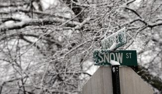 Snow and ice build up on the street signs for Snow and McDaniel Streets on Tuesday, Feb. 11, 2014, in Greer, S.C. Snow and icy conditions were expected to continue in the state through Wednesday. (AP Photo/Rainier Ehrhardt)