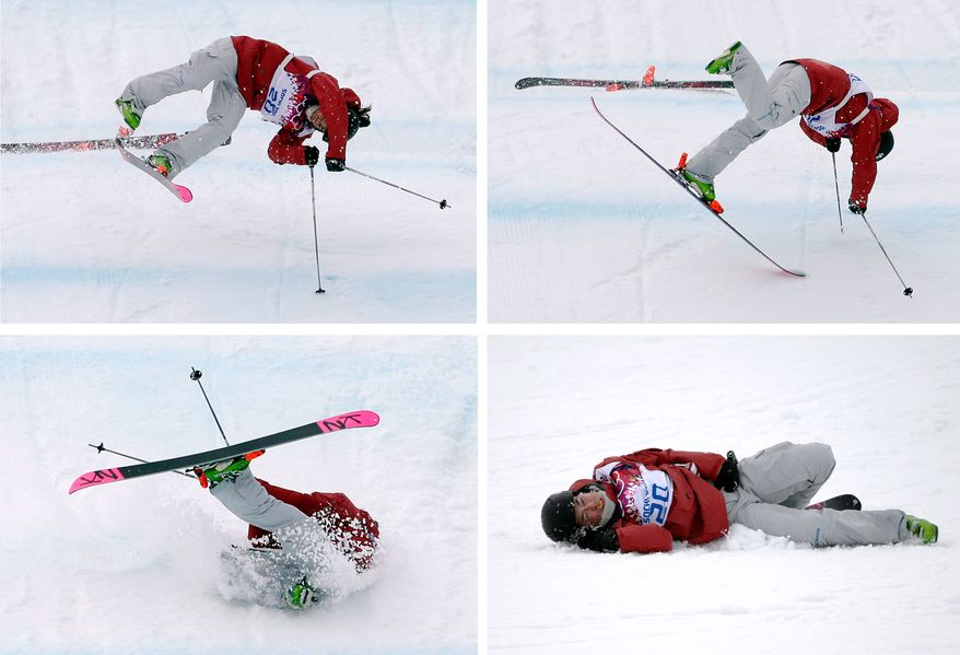 This combination of four images shows Canada's Yuki Tsubota crashing on her last run in the women's freestyle skiing slopestyle final at the Rosa Khutor Extreme Park, at the 2014 Winter Olympics, Tuesday, Feb. 11, 2014, in Krasnaya Polyana, Russia.  (AP Photos/Andy Wong/Jae C. Hong)
