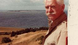 "In this undated photo provided by Peter Blegvad, Erik Blegvad poses on the Danish island of Samso.  Children's book artist Erik Blegvad, known for his whimsical illustrations of more than 100 books, has died in London. He was 90. His eldest son, musician and cartoonist Peter Blegvad, said his father died on Jan. 14, 2014. The wide-ranging artist was a native of Denmark who studied at the Copenhagen School of Arts and Crafts before developing his reputation in the New York and Paris publishing worlds.  Among his best known works are the illustrations for ""Bed-Knob and Broomstick,"" ''The Tenth Good Thing About Barney"" and his own translation of Hans Christian Andersen's ""Stories and Fairy Tales.""(AP Photo/Peter Blegvad)"