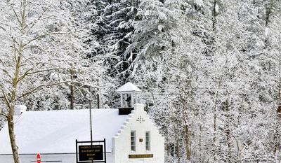 The historical Thaddeus Stevens BlackSmith Shop Museum has the snow covered trees of Caledonia State Park for a background   Tuesday, Feb. 4, 2014, near Fayetteville, Pa,. Another winter storm is forecast for Pennsylvania.   (AP Photo/Public Opinion, Markell DeLoatch)  HERALD-MAIL OUT; THE RECORD HERALD OUT