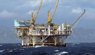 FILE- This file photo taken April 12, 2005 shows the oil platform Gilda is seen in federal waters in the Santa Barbara Channel off Ventura, Calif. The California Coastal Commission met on Wednesday, Feb. 12, 2014 to get an update on offshore hydraulic fracturing, which has occurred at least a dozen times in federal waters since the 1990s. The contested practice involves injecting large amounts of water, sand and chemicals into rock formations to release oil. (AP Photo/The Santa Barbara News-Press, Steve Malone, file)