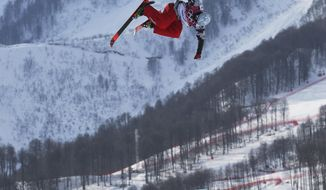 Nicholas Goepper of the United States takes a jump during freestyle skiing slopestyle training at the 2014 Winter Olympics, Monday, Feb. 10, 2014, in Krasnaya Polyana, Russia. (AP Photo/Sergei Grits)