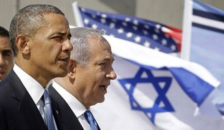 President Obama and Israeli Prime Minister Benjamin Netanyahu tour the Iron Dome Battery defense system at Ben Gurion International Airport in Tel Aviv on March 20, 2013. (Associated Press) ** FILE **