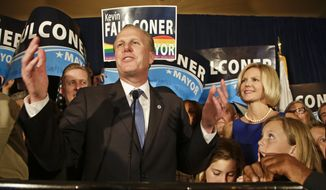 San Diego mayoral candidate Kevin Faulconer tells his supporters that while there are still votes to be counted they are looking good at a rally Tuesday, Feb. 11, 2014, in San Diego. (AP Photo/Lenny Ignelzi)