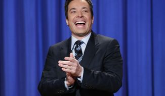 "** FILE ** This April 4, 2013, file photo released by NBC shows Jimmy Fallon, host of ""Late Night with Jimmy Fallon,"" in New York.  Fallon will debut as host of his new show, ""The Tonight Show with Jimmy Fallon,"" on Feb. 17. (AP Photo/NBC, Lloyd Bishop, File)"