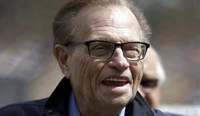 """Larry King will host a talk show, """"Politics with Larry King,"""" beginning next month on the RT America network, a global, English-language channel based in Russia, the network announced Wednesday. (AP Photo/Jae C. Hong)"""
