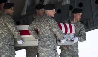 An Army carry team, carries the transfer case containing the remains of Army Spc. John A. Pelham of Portland, Ore., upon arrival at Dover Air Force Base, Del. on Friday, Feb. 14,  2014. The Department of Defense announced the death of Pelham who was supporting Operation Enduring Freedom in Afghanistan. (AP Photo/Jose Luis Magana)