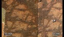 FILE - This composite image provided by NASA shows before and-after images taken by the Opportunity rover. At left is an image of a patch of ground taken on Dec. 26, 2013. At right is in image taken on Jan. 8, 2014 showing a rock shaped like a jelly doughnut that had not been there before. Researchers have determined this now-infamous Martian rock resembling a jelly doughnut, dubbed Pinnacle Island, is a piece of a larger rock broken and moved by the wheel of NASA's Mars Exploration Rover Opportunity in early January. Opportunity landed on Mars in 2004 and continues to explore. (AP Photo/NASA)