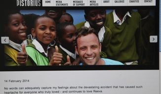 "This photo taken from the Oscar Pistorius official website, Friday, Feb. 14, 2014, shows a message by the Olympian athlete Pistorius, center, on the anniversary of the Valentines Day shooting death of his girlfriend Reeva Steenkamp. ""No words can adequately capture my feelings about the devastating accident that has caused such heartache for everyone who truly loved - and continues to love Reeva,"" said Pistorius, who told a court last year that he mistook Steenkamp for a dangerous nighttime intruder. The double-amputee runner faces a murder trial next month for the fatal shooting in his home in Pretoria, South Africa. (AP Photo/Denis Farrell)"