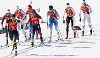 United States' Kikkan Randall, Germany's Nicole Fessel, Sweden's Ida Ingemarsdotter Czech Republic's Eva Vrabcova-Nyvltova, Russia's Yulia Ivanova, Finland's Anne Kylloenen, Austria's Katerina Smutna and France's Aurore Jean, from left, ski during the women's 4x5K cross-country relay at the 2014 Winter Olympics, Saturday, Feb. 15, 2014, in Krasnaya Polyana, Russia. (AP Photo/Dmitry Lovetsky)