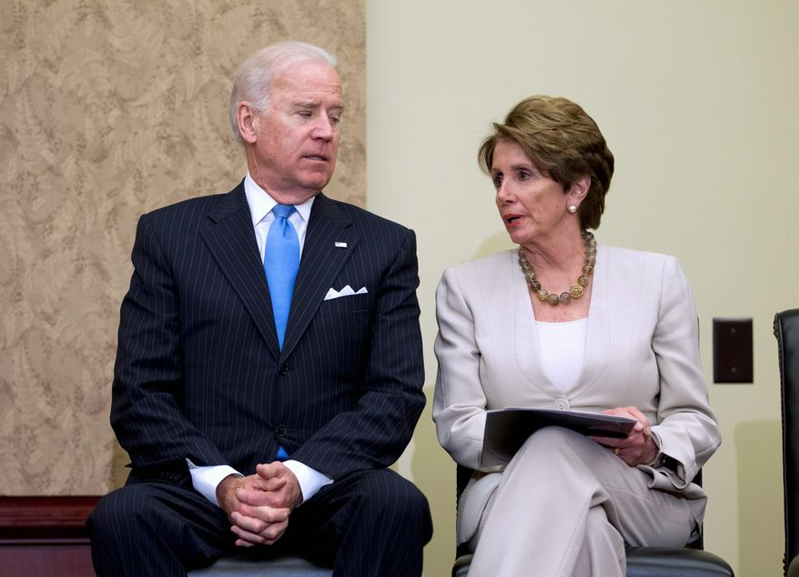"Vice President Joseph R. Biden tried to reassure Nancy Pelosi, California Democrat, about fast-track trade authority in an election year. ""Nancy, I know it's not coming up now,"" he said. The minority leader told a steelworkers rally last week that trade promotion authority is out of the question. (Associated Press)"