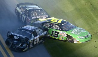 Jeb Burton (13), Benny Gordon (11) and Mark Thompson (66) collide on the front stretch during the ARCA Series auto race at Daytona International Speedway in Daytona Beach, Fla., Saturday, Feb. 15, 2014. (AP Photo/Phelan M. Ebenhack)