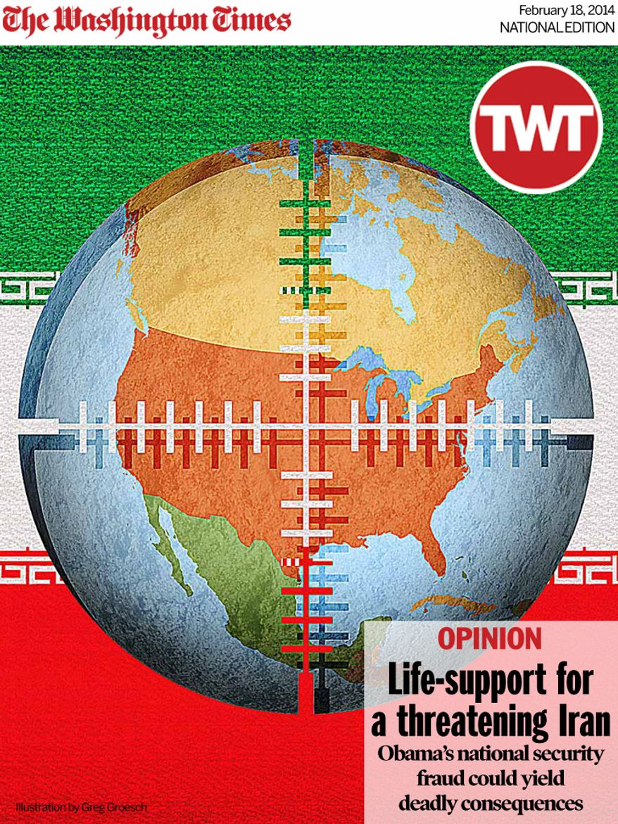 National Edition Opinion cover for February 18, 2014 - Life-support for a threatening Iran (Illustration by Greg Groesch for The Washington Times)