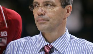 Nebraska coach Tim Miles looks on following a 60-51 win over Michigan State in an NCAA college basketball game on2 Sunday, Feb. 16, 2014, in East Lansing, Mich. (AP Photo/Al Goldis)