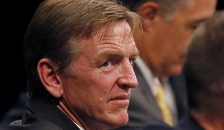 FILE - This Aug. 22, 2013 file photo shows Rep. Paul Gosar, R-Ariz. in Mesa, Ariz. Gosar is having hip-replacement surgery. Spokesman Garrett Hawkins says the 55-year-old surgery is taking place Friday in Arizona.   (AP Photo/Matt York, File)