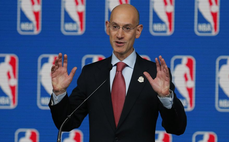 NBA Commissioner Adam Silver speaks at a news conference before the skills competition at the NBA All Star basketball weekend, Saturday, Feb. 15, 2014, in New Orleans. (AP Photo/Bill Haber)