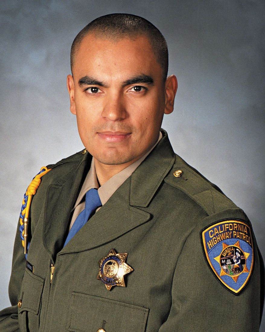 In this undated photo released by the California Highway Patrol is Officer Juan Gonzalez. The California Highway Patrol was mourning the loss of two officers Monday, Feb. 17, 2014, after their squad car flipped over while responding to a multi-vehicle crash. Officers Brian Law and Gonzalez were heading to the crash on state Route 99 near the Central Valley town of Kingsburg, Calif., the CHP said. (AP Photo/California Highway Patrol)