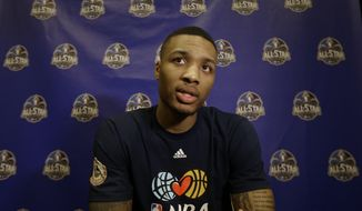 Portland Trail Blazers  player Damian Lillard  speaks during the NBA All Star basketball news conference, Friday, Feb. 14, 2014, in New Orleans. The 63rd annual NBA All Star game will be played Sunday in New Orleans. (AP Photo/Gerald Herbert)
