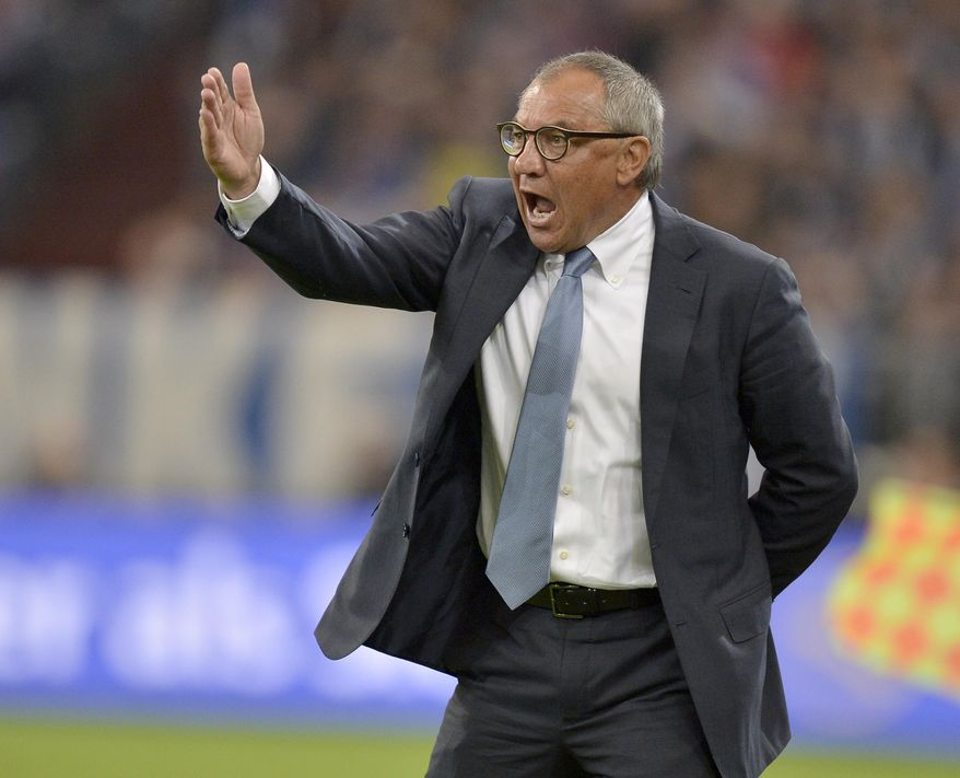 "FILE - In this file photo dated Saturday, Oct. 6, 2012, Wolfsburg soccer team head coach Felix Magath reacts during the German first division Bundesliga soccer match between FC Schalke 04 and VfL Wolfsburg, in Gelsenkirchen, Germany.  English soccer club Fulham fired manager Rene Meulensteen and appointed German coach Felix Magath on Friday Feb. 14, 2014, saying ""action was required"", in its bid to avoid relegation from the English Premier League.(AP Photo/Martin Meissner, FILE)"