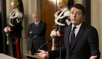 Italian Democratic Party's leader Matteo Renzi talks to journalists at the Quirinale presidential palace after talks with Italan President Giorgio Napolitano, in Rome, Monday, Feb. 17, 2014. Renzi was asked to form a new government to replace the one he sacked through a stunning power-grab within his own party. (AP Photo/Alessandra Tarantino)
