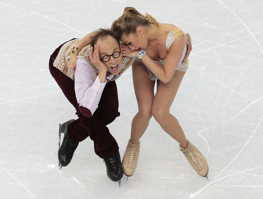 Nelli Zhiganshina and Alexander Gazsi of Germany compete in the ice dance free dance figure skating finals at the Iceberg Skating Palace during the 2014 Winter Olympics, Monday, Feb. 17, 2014, in Sochi, Russia. (AP Photo/Ivan Sekretarev)