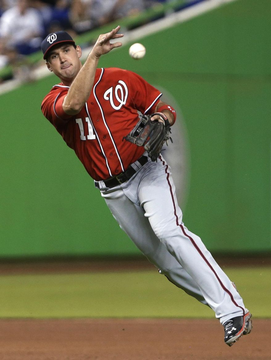 FILE - In this Sept. 7, 2013, file photo, Washington Nationals third baseman Ryan Zimmerman throws to first to put out a Miami Marlins batter during a baseball game in Miami. Zimmerman has a new piece of equipment in his locker--a first baseman's mitt. The Nationals' longtime third baseman will take some grounders on the opposite side of the diamond during spring training. Manager Matt Williams says he expects to use Zimmerman at first for a few games this season. (AP Photo/Wilfredo Lee, File)