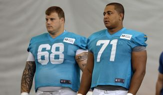 "FILE - In this July 24, 2013, file photo, Miami Dolphins guard Richie Incognito (68) and tackle Jonathan Martin (71) stand on the field during NFL football practice in Davie, Fla. Incognito has lashed out at Martin on Twitter, saying ""The truth is going to bury you and your entire 'camp.' You could have told the truth the entire time."" Incognito also wrote Martin told him he thought about committing suicide last May because he wasn't playing well. Incognito's series of tweets Wednesday, Feb. 12, 2014, directed at Martin and his representatives come as the NFL is preparing to release a report on the Dolphins' bullying case which could shed light on their relationship. (AP Photo/Lynne Sladky, File)"
