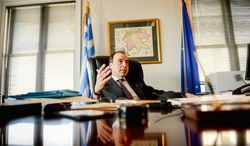 """""""For the very first time, we have learned to live with what we have,"""" Greek Ambassador Christos P. Panagopoulos said. (Andrew Harnik/The Washington Times)"""