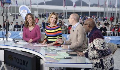 "This Feb. 11, 2014 photo released by NBC shows co-hosts, from left, Natalie Morales, Savannah Guthrie, Matt Lauer and Al Roker on the ""Today"" show on location in Sochi, Russia for the Winter Olympics. (AP Photo/NBC, Joe Scarnici)"