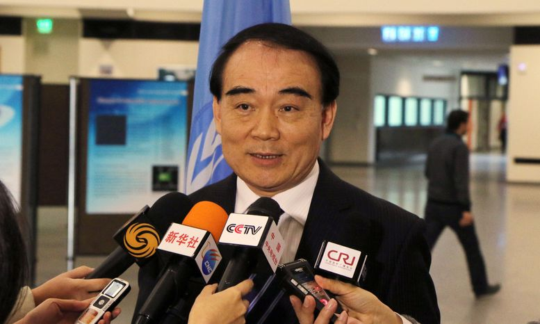 Li Baodong China's Vice Minister of Foreign Affairs speaks to media during closed-door nuclear talks in Vienna, Austria, Tuesday, Feb. 18, 2014. Iran and six world powers are back at the negotiating table eager to come to terms on a comprehensive nuclear deal but deeply divided on what it should look like. Th