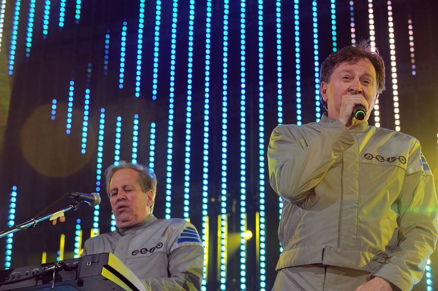 **FILE** Gerald Casale (left) and Bob Casale of Devo performs live at the 2010 KROQ Weenie Roast on Saturday June 5, 2010, at the Verizon Wireless Ampitheaer in Irvine, Calif. (Associated Press)