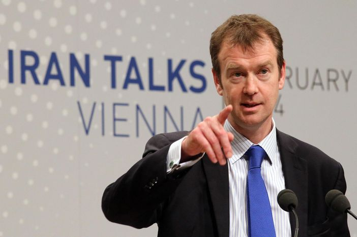 Michael Mann, spokesperson for EU foreign policy chief Catherine Ashton spekes to press during closed-door nuclear talks in Vienna, Austria, Tuesday, Feb. 18, 2014. Iran and six world powers are back at the negotiating table eager to come to terms on a comprehensive nuclear deal but deeply divided on what it should look like. The two sides began meeting Tuesday in attempts to build on a first-step accord that temporar