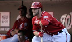 FILE - This Sept. 22, 2013 file photo shows Washington Nationals left fielder Bryce Harper watching his team play as he waits for his turn at bat against the Miami Marlins in the ninth inning of their baseball game at Nationals Park in Washington. The young slugger who battled a bum knee through much of 2013 is hoping for better things this year.  (AP Photo/Susan Walsh, File)