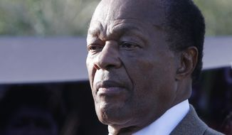 FILE - This Oct. 16, 2011 file photo shows current D.C. councilmember and former Washington Mayor Marion Barry in Washington. Barry has been released from the hospital after his second extended stay this year. His spokeswoman, LaToya Foster, says the 77-year-old Barry was released Tuesday night from Washington Hospital Center after an 8-day stay. Barry, now a D.C. councilmember, had tweeted that he was being treated for a urinary tract infection. He said it wasn't serious. Foster says Barry is now at a rehabilitation center receiving physical therapy to help with mobility. (AP Photo/Charles Dharapak, File)