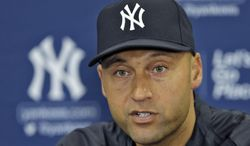 New York Yankees shortstop Derek Jeter answers a question during a news conference Wednesday, Feb. 19, 2014, in Tampa, Fla. Jeter has announced he will retire at the end of the 2014 season. (AP Photo/Chris O'Meara)