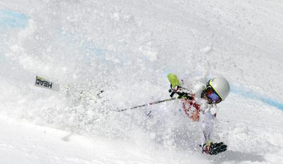 Andorra's Joan Verdu Sanchez crashes in the first run of the men's giant slalom at the Sochi 2014 Winter Olympics, Wednesday, Feb. 19, 2014, in Krasnaya Polyana, Russia. (AP Photo/Charles Krupa)