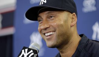 New York Yankees shortstop Derek Jeter smiles during a news conference Wednesday, Feb. 19, 2014, in Tampa, Fla. Jeter has announced he will retire at the end of the 2014 season. (AP Photo/Chris O'Meara)