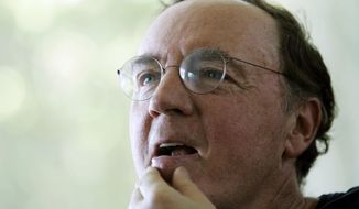 FILE - In this May 3, 2006, file photo, author James Patterson contemplates a question during an interview at his home overlooking the Intracoastal Waterway in Palm Beach, Fla. Patterson is giving away $1 million of his own money to independent bookstores and on Wednesday, Feb. 19, 2014, Patterson announced the first round of 55 stores to receive over $267,000 in funds. The remaining $750,000 will be given out in stages throughout the year. (AP Photo/Wilfredo Lee, File)